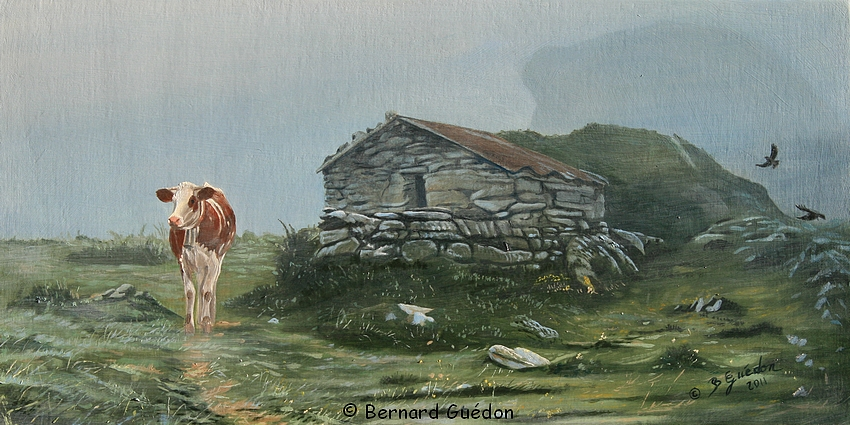 Vache sur le chemin de la cabane,Peinture Bernard Guédon # Peinture Cabane Bois
